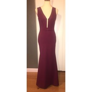 Lulus Burgundy fit and flare evening gown